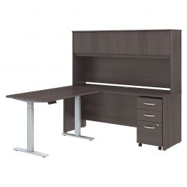 72W x 24D L Shaped Desk with Hutch, 48W Height Adjustable Return and Storage