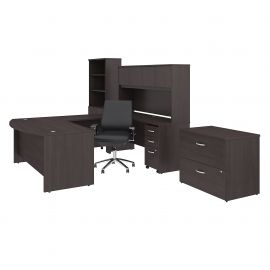72W x 36D U Shaped Desk with Hutch, Bookcase, File Cabinets and Mid Back Office Chair